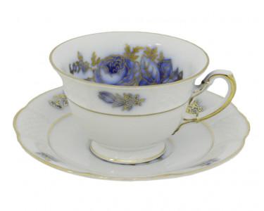 Чайная пара Rosenthal белая с синими цветами. Бавария