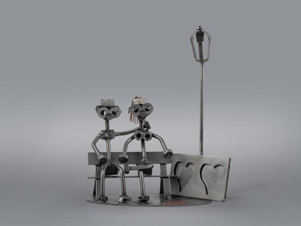 Статуэтка - подставка для фото Влюблённые на скамейке Hinz&Kunst
