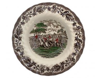 Тарелка суповая «Охота» Myotts. Англия